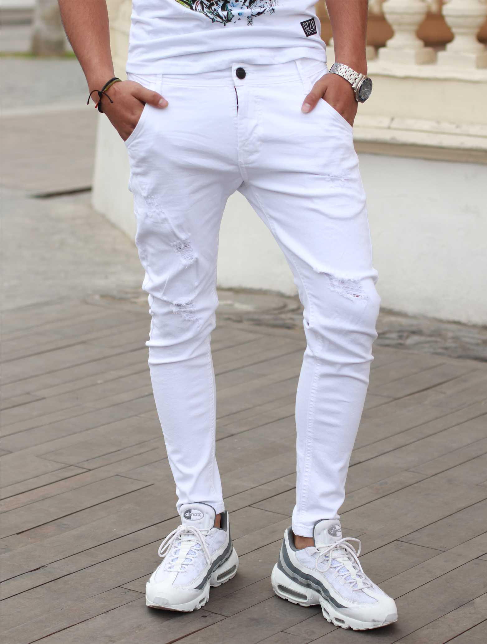Pantalones Hombre Emporio Fox Rasgado Blanco Jeans Hombre Pantalon